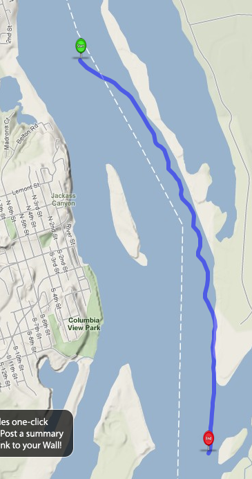Rick's preferred route past Sand Island